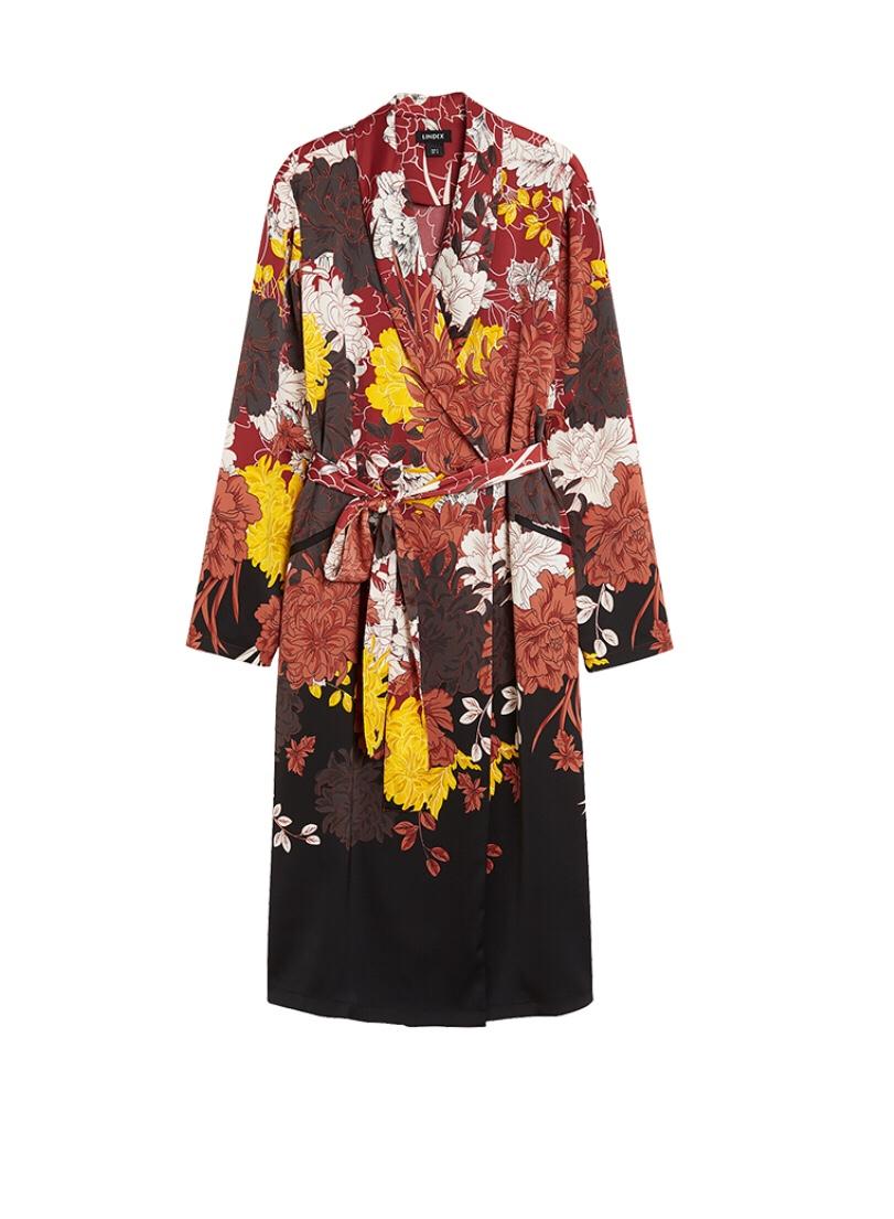 Mönstrad kimono i satin