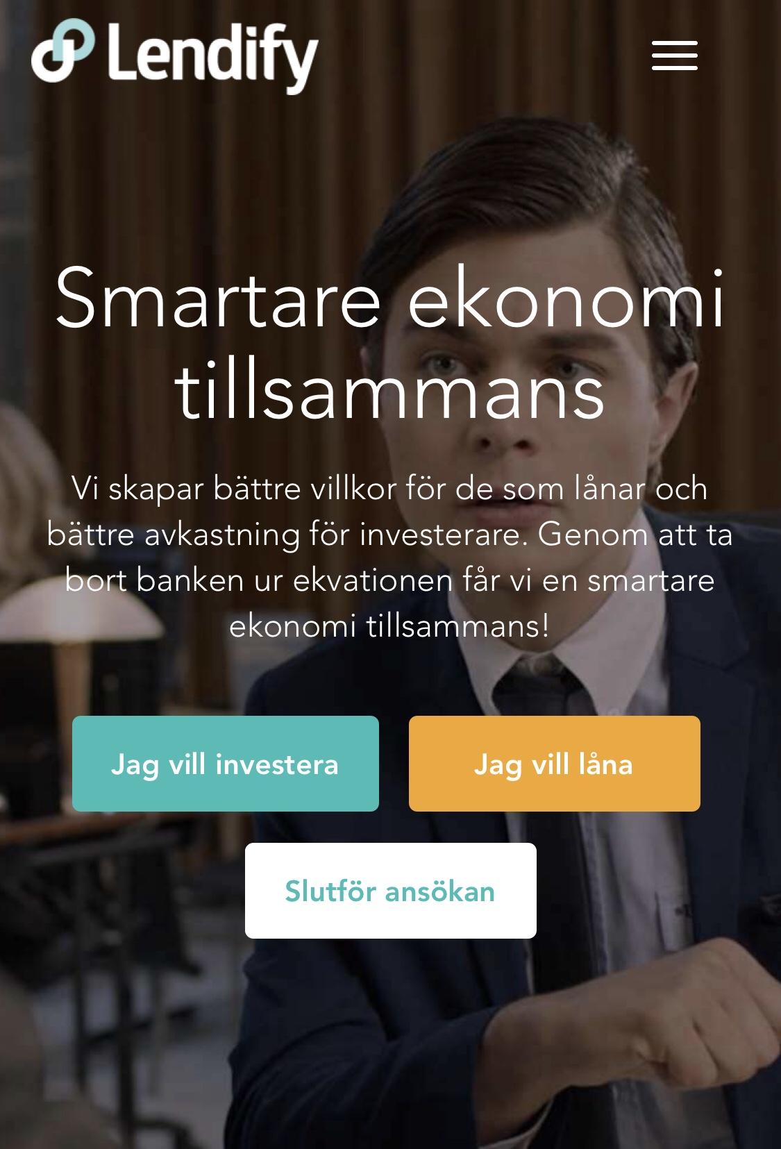 Lendify kopplar ihop investerare och låntagare