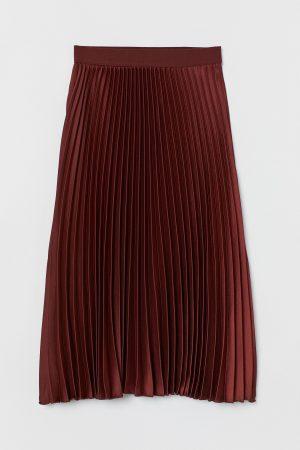 Plisserad kjol – rostbrun
