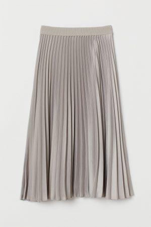 Plisserad kjol – gråbeige