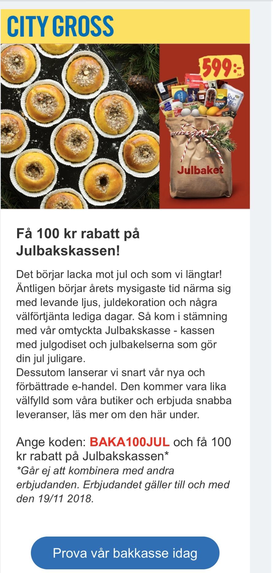 Testa Julbakskassen & få 100:- rabatt