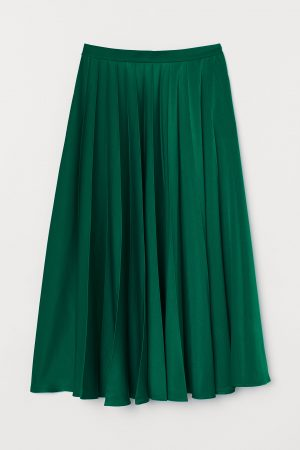 Grön plisserad kjol