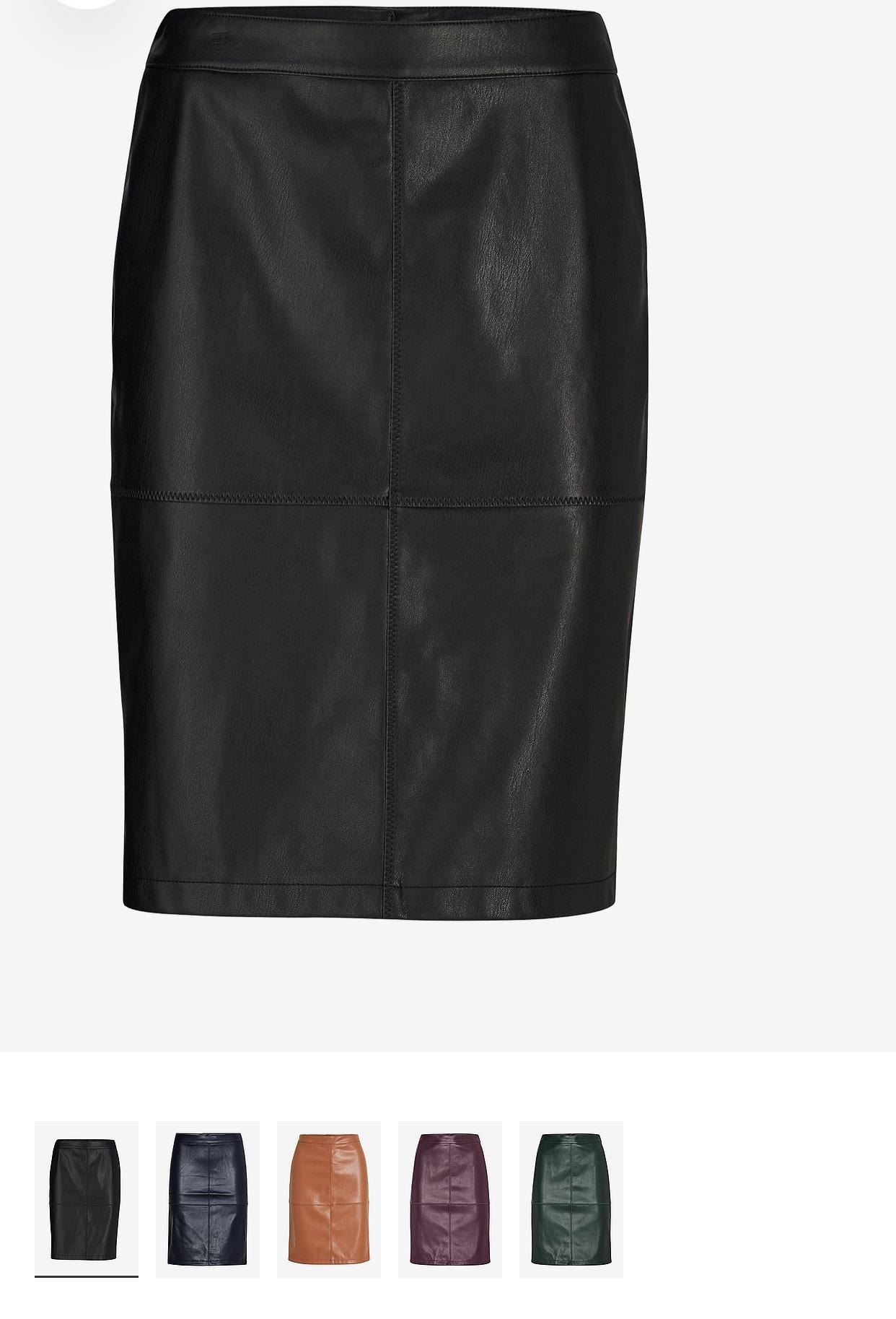 Styla kjol i läderimitation 
